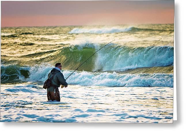 Sunrise Fisherman Greeting Card by Vicki Jauron