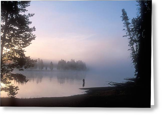 Sunrise Fishing In The Yellowstone River Greeting Card by Michael S. Lewis