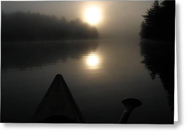 Canoe Pyrography Greeting Cards - Sunrise From A Canoe Greeting Card by Waldemar Okon