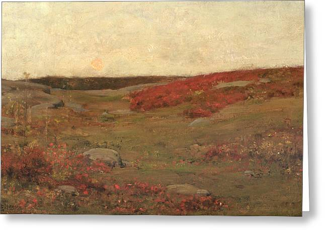The Hills Greeting Cards - Sunrise in Autumn Greeting Card by Childe Hassam