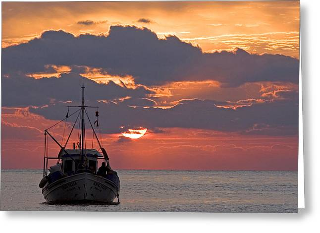 Sunrise In Crete Greeting Card by Max Waugh