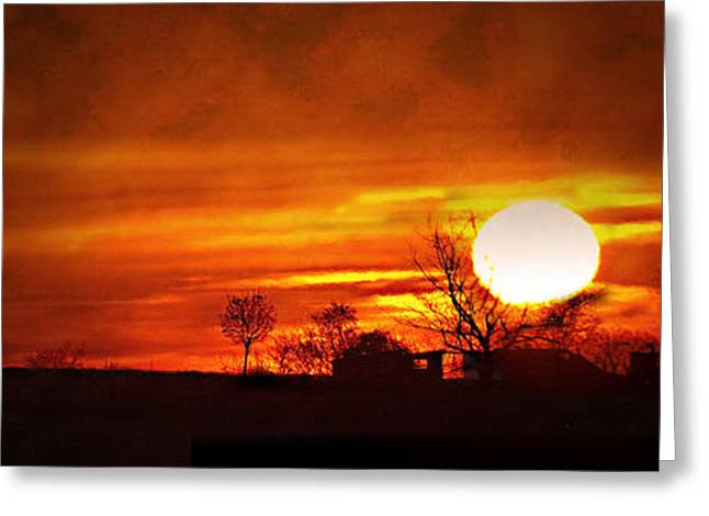 Amish Farms Greeting Cards - Sunrise In Lancaster Greeting Card by Kathy Jennings