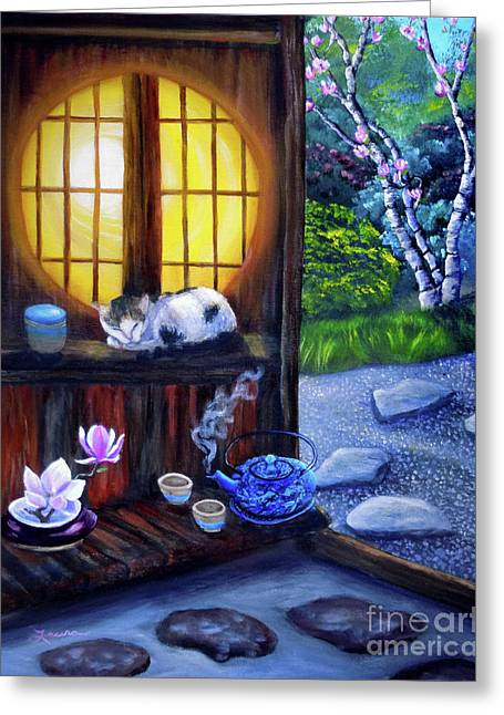 Magnolia Tree Greeting Cards - Sunrise in Moon Window Greeting Card by Laura Iverson