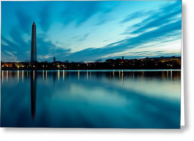 Patriot League Greeting Cards - Sunrise in the Capital Greeting Card by David Hahn