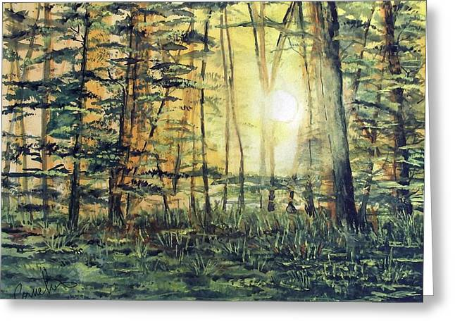 Sacred Grove Greeting Cards - Sunrise in the Woods Greeting Card by Russell Cornelius