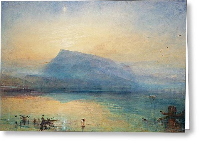Swiss Paintings Greeting Cards - Sunrise Greeting Card by Joseph Mallord William Turner