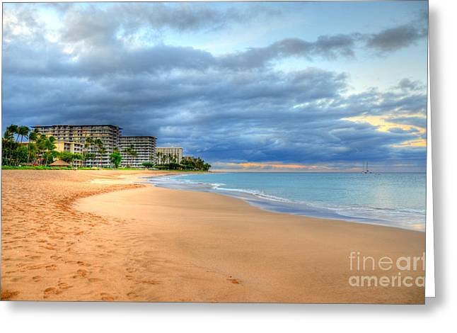 Lahaina Greeting Cards - Sunrise Kaanapali Beach Hotels  Greeting Card by Kelly Wade