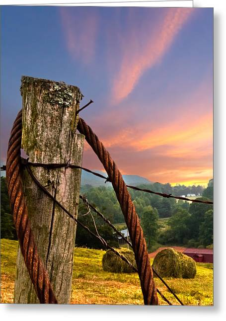 Tennessee Hay Bales Greeting Cards - Sunrise Lasso Greeting Card by Debra and Dave Vanderlaan