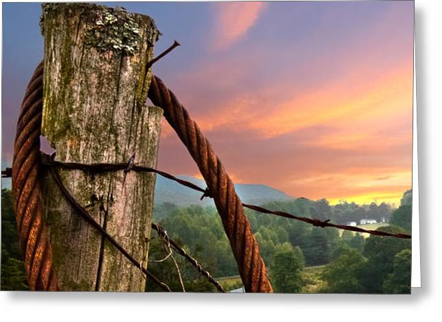 Sunrise Lasso Greeting Card by Debra and Dave Vanderlaan