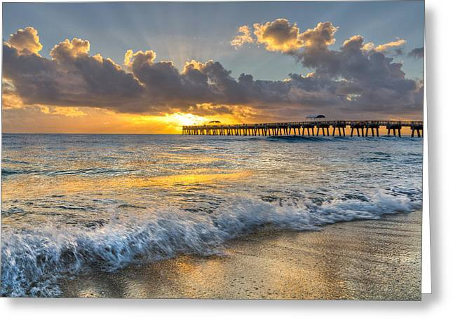 Tidal Photographs Greeting Cards - Sunrise Lights Greeting Card by Debra and Dave Vanderlaan