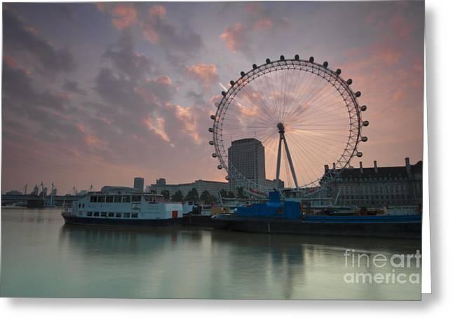 Smooth Ride Greeting Cards - Sunrise London Eye Greeting Card by Donald Davis