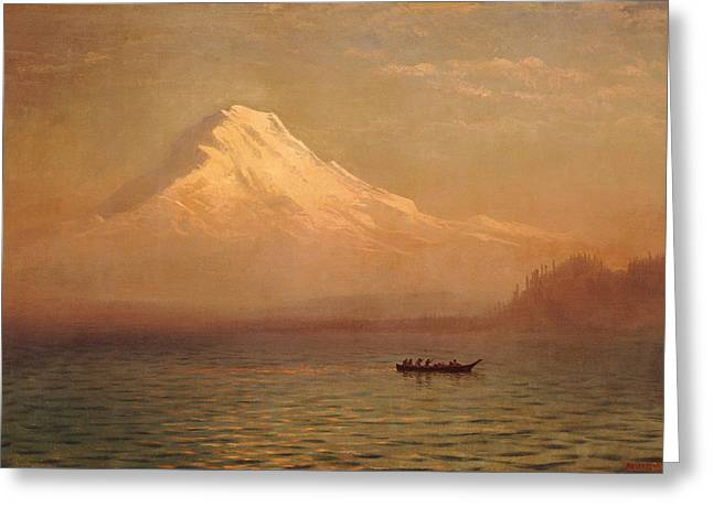 Bierstadt Greeting Cards - Sunrise on Mount Tacoma  Greeting Card by Albert Bierstadt