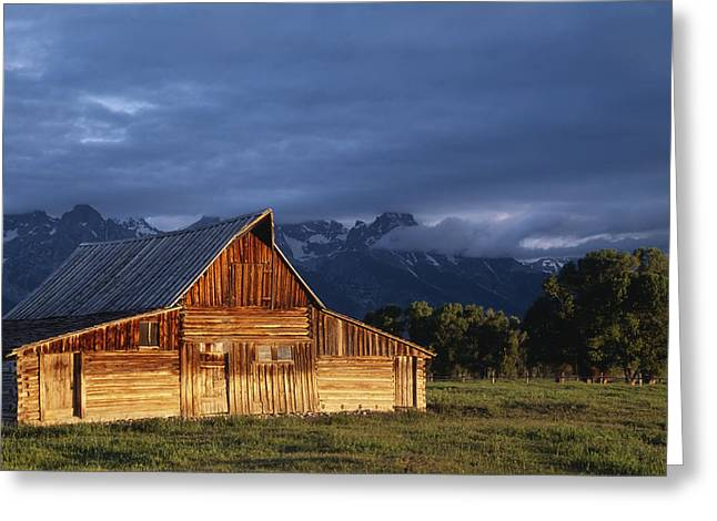 Sunrise On Old Wooden Barn On Farm Greeting Card by Axiom Photographic