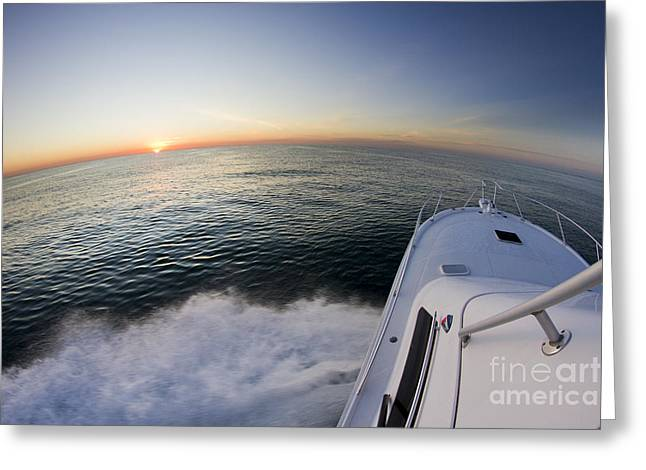 Sunrise On The Florida Coast Luhrs 36 Sportfisher Greeting Card by Dustin K Ryan