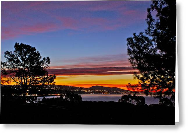 Sunrise Over California Greeting Cards - Sunrise over Capistrano Bay Greeting Card by Bob Hasbrook