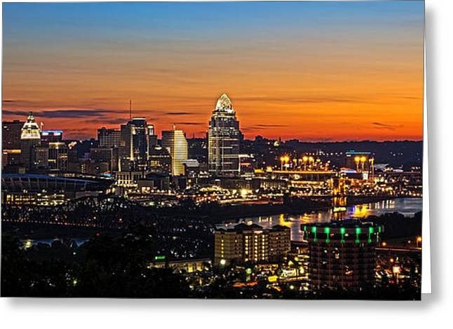 Glowing Greeting Cards - Sunrise over Cincinnati Greeting Card by Keith Allen