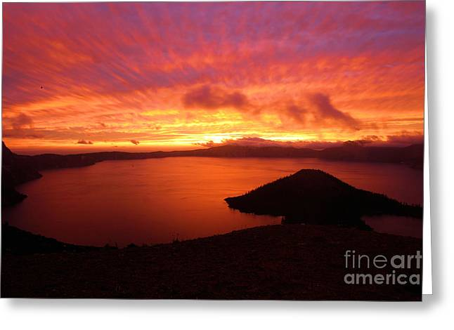 Crater Lake Sunset Greeting Cards - Sunrise Over Crater Lake Greeting Card by Adam Jewell