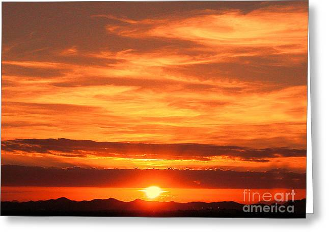Mdf Mounted Print Greeting Cards - Sunrise Over Jeddah Greeting Card by Graham Taylor