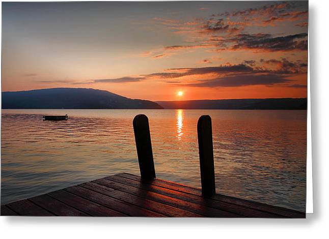 Travel Photographs Greeting Cards - Sunrise Over Keuka III Greeting Card by Steven Ainsworth