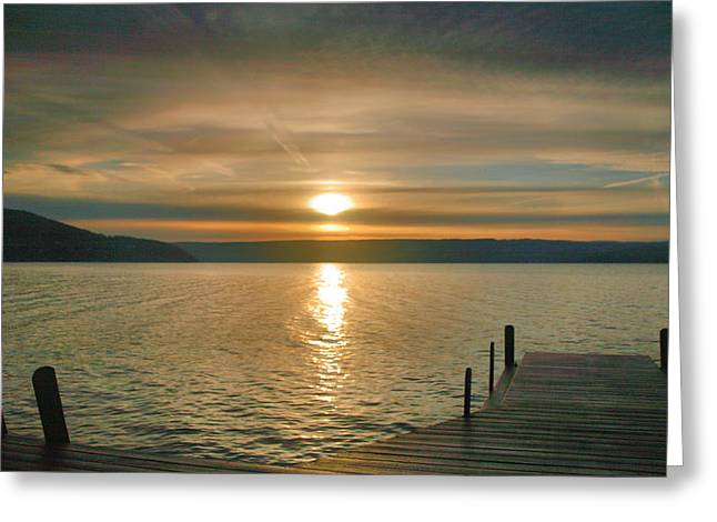 Finger Lakes Greeting Cards - Sunrise Over Keuka Greeting Card by Steven Ainsworth