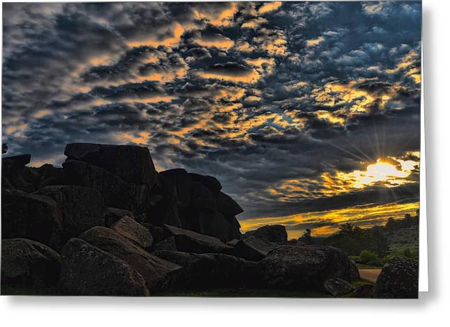Devils Den Greeting Cards - Sunrise over Little Round Top Greeting Card by Dave Sandt