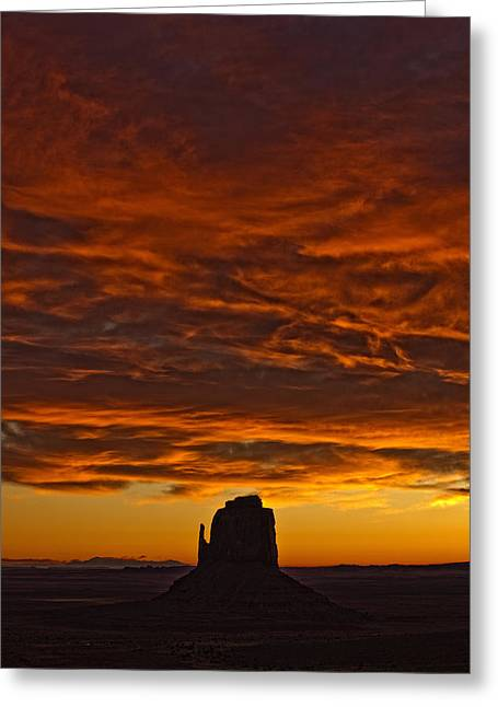 Without Lights Greeting Cards - Sunrise Over Monument Valley, Arizona Greeting Card by Robert Postma