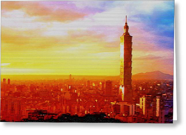 Steve Huang Greeting Cards - Sunrise Over Taipei Greeting Card by Steve Huang