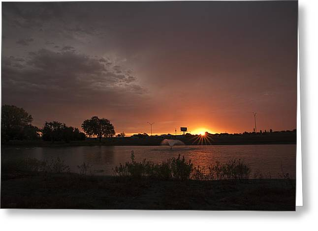Lubbock Greeting Cards - Sunrise over the Duck Pond Greeting Card by Melany Sarafis