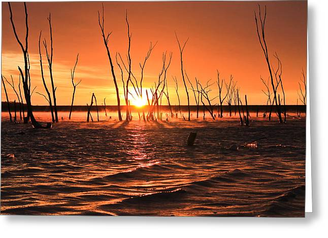 Sunrise Over The Lake Greeting Card by Erik Clark