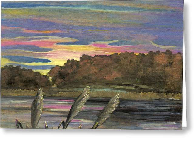 Anna Maciejewska-dyba Greeting Cards - Sunrise Over the Ponds Greeting Card by Anna Folkartanna Maciejewska-Dyba