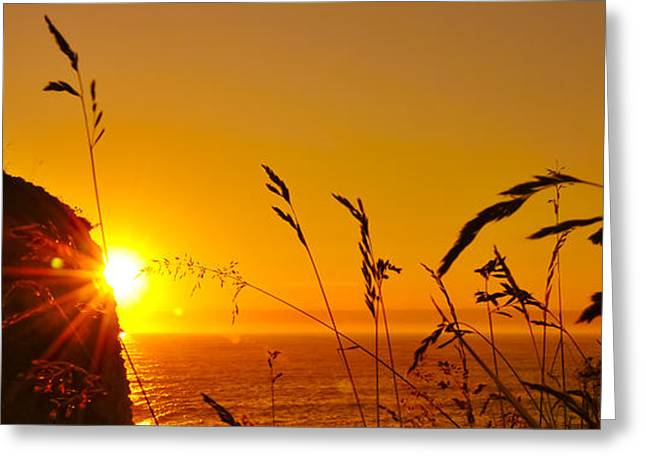 Black Top Greeting Cards - Sunrise Pano Greeting Card by Svetlana Sewell