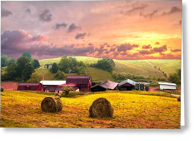Mountaintop. Trees Greeting Cards - Sunrise Pastures Greeting Card by Debra and Dave Vanderlaan