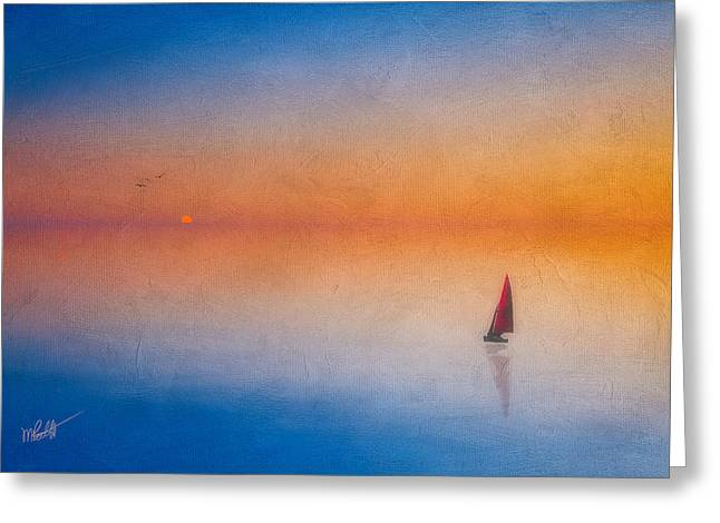 Sunset Seascape Mixed Media Greeting Cards - Sunrise Sail Greeting Card by Michael Petrizzo