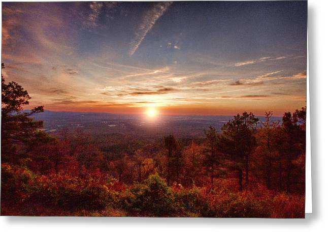 Scenic Drive Greeting Cards - Sunrise-Talimena Scenic Drive Arkansas Greeting Card by Douglas Barnard