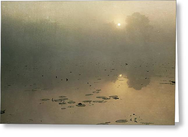 Sunrise through mist Greeting Card by Paul Grand