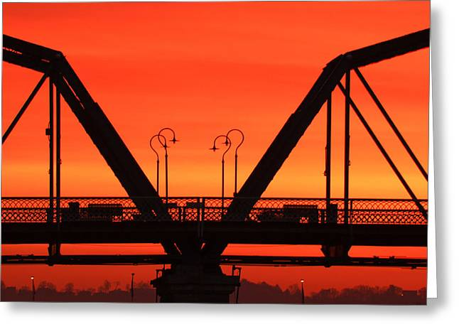 Riverpark Greeting Cards - Sunrise Walnut Street Bridge Greeting Card by Tom and Pat Cory