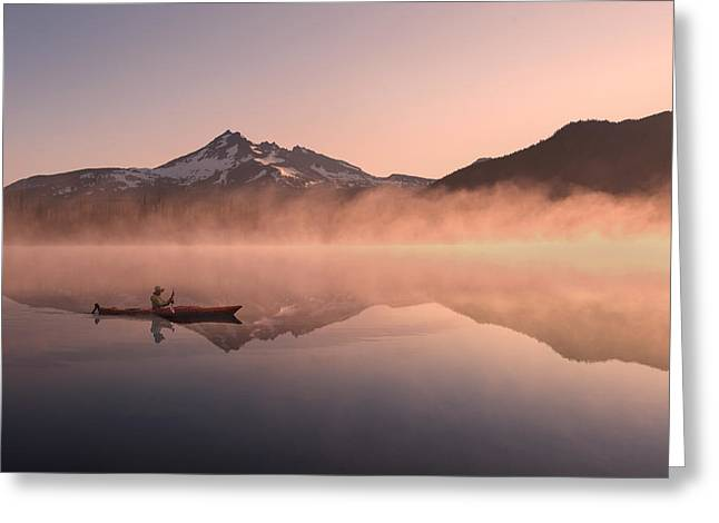 Kayak Greeting Cards - Sunrise with Broken top Mountain Greeting Card by Christian Heeb