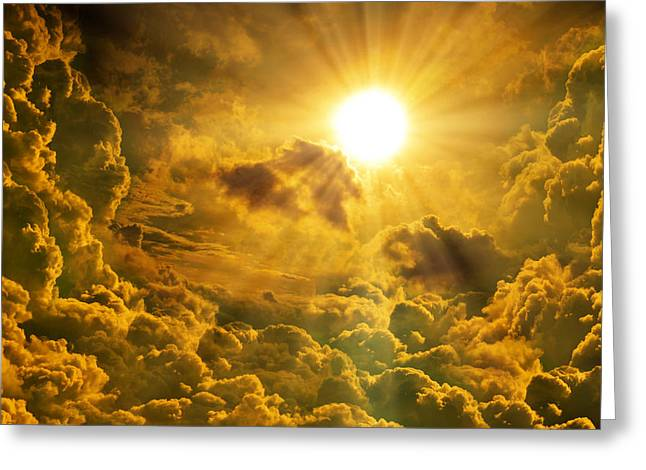 Hdr Landscape Mixed Media Greeting Cards - Sunrise With Clouds Greeting Card by Nattapon Wongwean