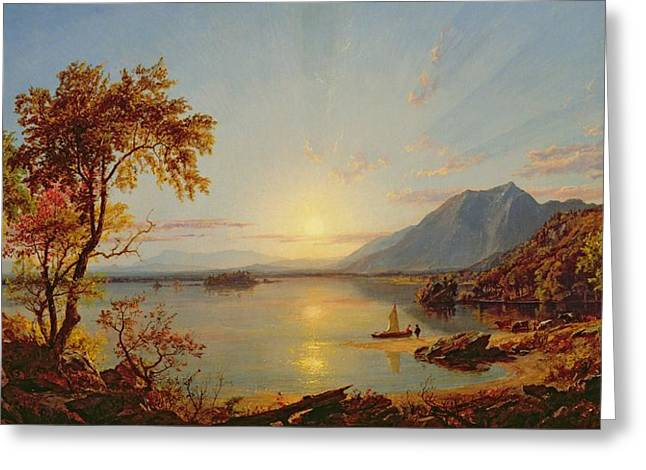 Hudson River School Paintings Greeting Cards - Sunset - Lake George Greeting Card by Jasper Francis Cropsey