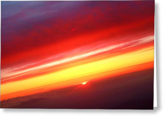 Sunset Posters Greeting Cards - Sunset Above the Clouds Greeting Card by James BO  Insogna