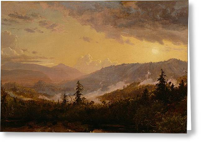 New York State Paintings Greeting Cards - Sunset after a Storm in the Catskill Mountains Greeting Card by Jasper Francis Cropsey