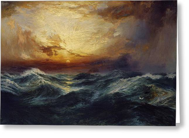 Masterpiece Paintings Greeting Cards - Sunset After a Storm Greeting Card by Thomas Moran