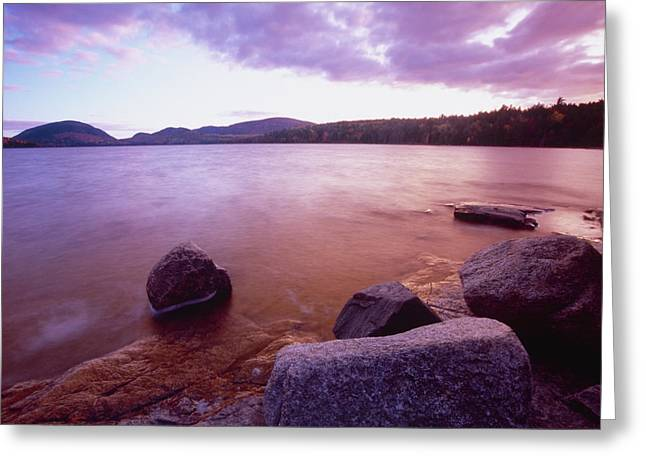 Mt Desert Island Greeting Cards - Sunset Afterglow at Eagle Lake Greeting Card by George Oze