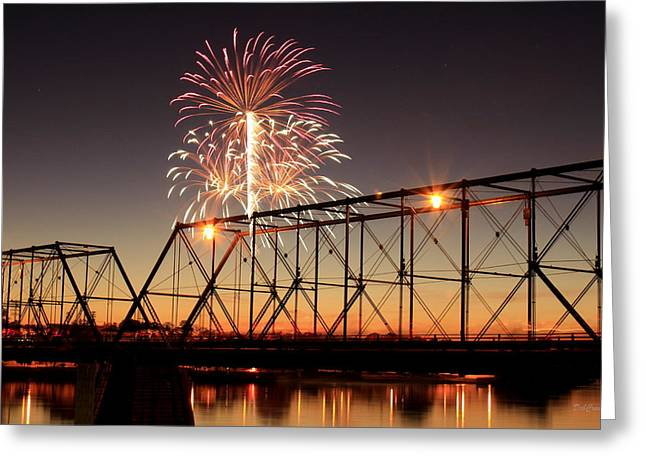 Sunset and Fireworks Greeting Card by Deborah  Crew-Johnson