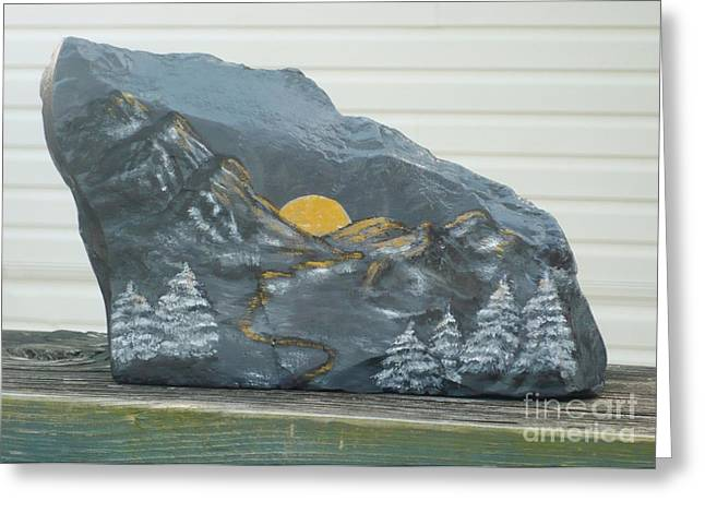 Calm Sculptures Greeting Cards - Sunset and Mountains Greeting Card by Monika Dickson-Shepherdson