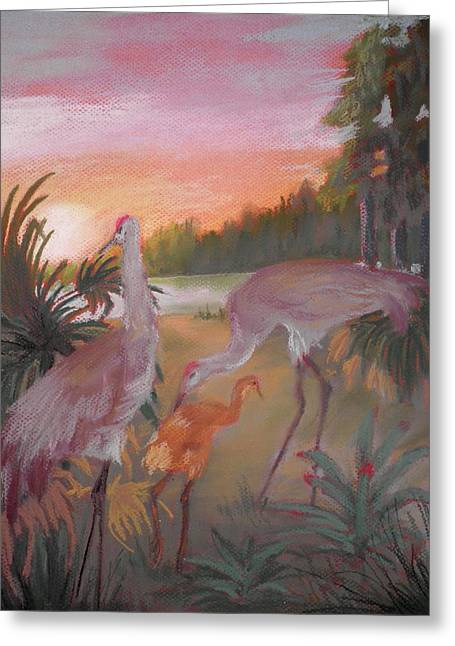 Sandhill Cranes Pastels Greeting Cards - Sunset And Sandhills Greeting Card by Curt Peifley
