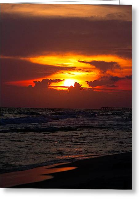 Panama City Beach Digital Greeting Cards - Sunset Greeting Card by Anna Rumiantseva