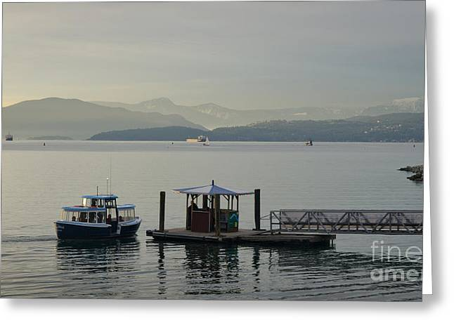 Water Taxi Greeting Cards - SUNSET AQUATIC beach centre vancouver bc canada Greeting Card by Andy Smy