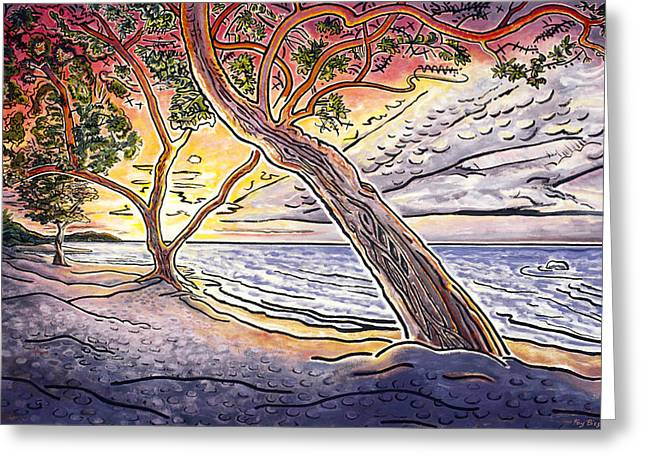 Sunset at Anaehoomalu Bay Greeting Card by Fay Biegun - Printscapes