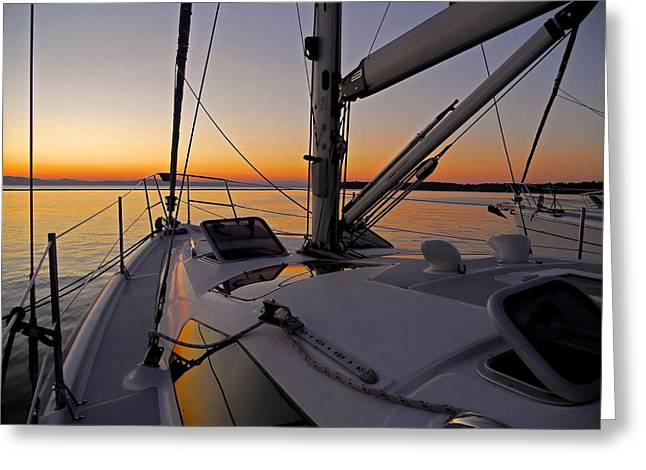 Spiegelung Greeting Cards - Sunset at Burlington Harbour ... Greeting Card by Juergen Weiss